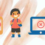 dziecko korzystające z komputera i urządzeń mobilnych